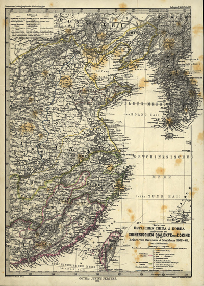 China 1869 Rare antique map, Korea, Taiwanroyalty free, clip art