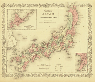 Japan 1855, Antique heritage, vintage map, royalty free, clip art