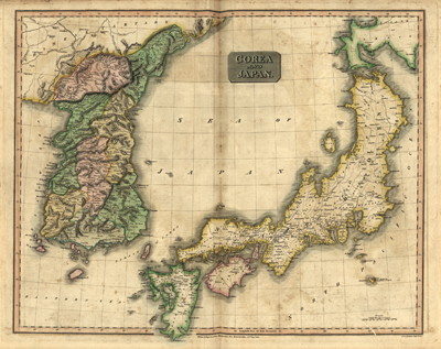 Japan, Korea 1815 antique rare map, cartography, royalty free, clip art