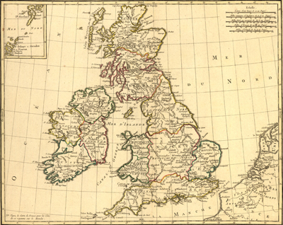 British Isles 1783, Antique Historical map, royalty Free, clip art