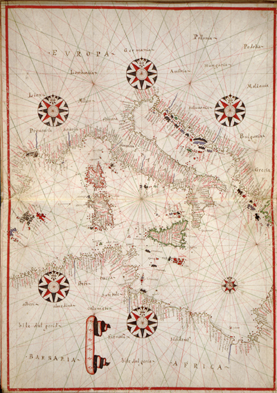 Mediterranean Sea map, 1590 Europe, antique historical italy, greece, rare old maps, royalty free