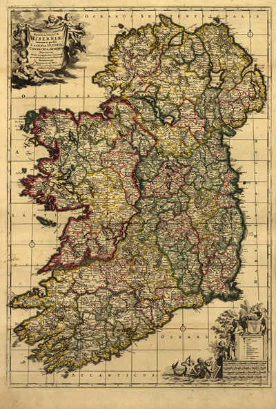 Ireland 1700s map, vintage historical map, europe, great britain, royalty free, clip art