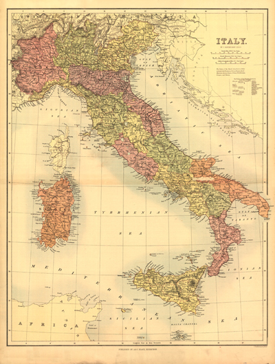 Italy 1890 antique vintage rare map, europe, mediteranean sea, royalty free, clipart