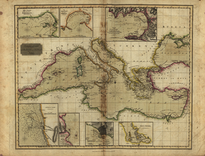 Mediterranean 1817 Antique map, Europe, Italy, greece, royalty free, clip art,