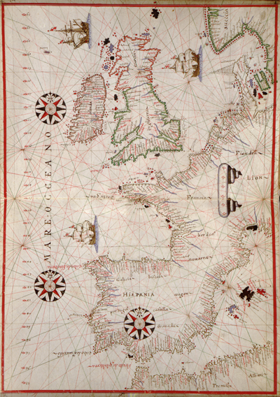 a map of spain and france. map 1590, Spain, France,