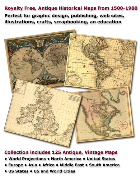 Antique Historical Maps, 1500-1900, royalty free, clip art