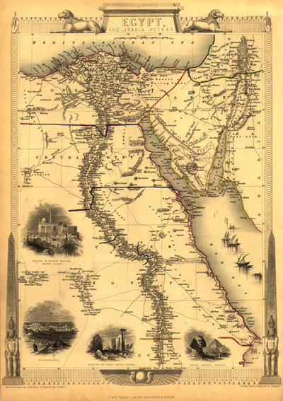 Egypt 1800s Vintage Historical Map, Royalty free, Clip Art