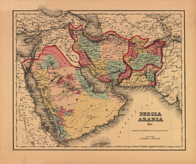 Iran Antique 1855 heritage historical maps, royalty free, clip art
