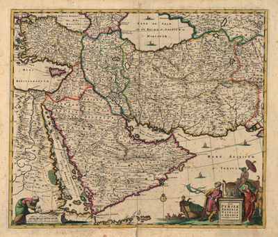 Middle East 1666 map, antique crtography maps, royalty free, clip art