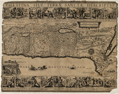 Palestine 1650 map, antique old prints map, royalty free, clip art
