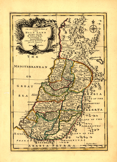 Palestine 1752 Antique Map, cartography, rare maps, royalty free, clip art