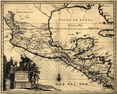 New Spain, 1671 Antique Historical map, royalty free, north america