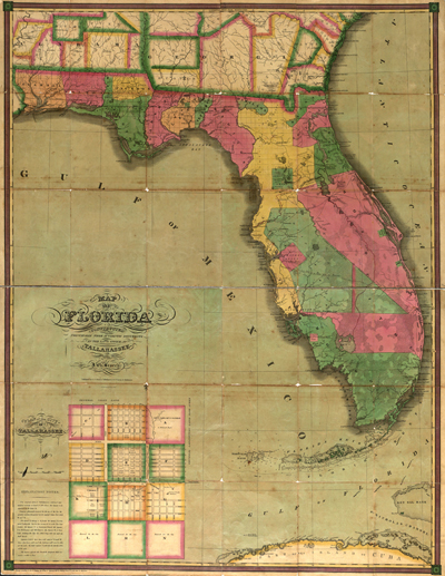 florida map 1829, usa, america, state, antique historial map, royalty free, clip art