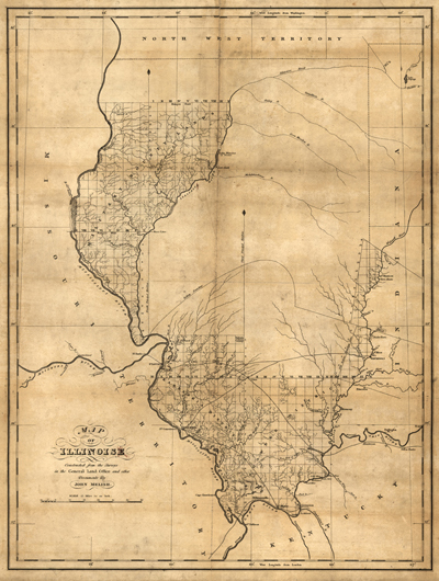 Illinois map 1818, usa, america, state, antique vintage map, royalty free, clip art