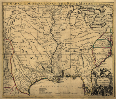 Louisana map 1721, usa, america, state, antique rare map, royalty free, clip art