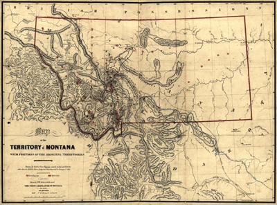 Montana map 1865, USA, America, state, antique rare map, royalty free, clip art