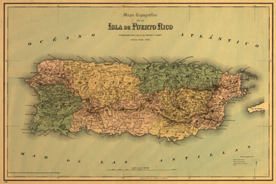 Puerto Rico map 1886, USA, America, Antique heritage map, clip art