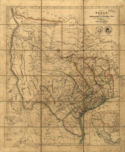 Texas map, 1841, USA, America, state, Antique Historical map, Royalty Free, Clip Art