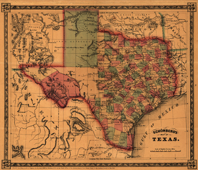 Texas State map, 1866, Antique Historical map, royalty free, clip art