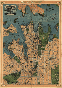 Sydney, Australia map 1922, antique historical map, royalty free, clip art