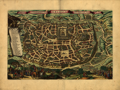 Jerusalem, Israel map 1660s, antique histroical map, royalty free, clip art