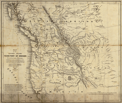 Pacific Northwest United States, 1838 Antique Historical Map, Royalty Free, USA, US, America