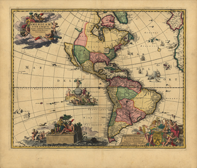Antique Vintage World Projection Map 1700, North and South America, Canada,