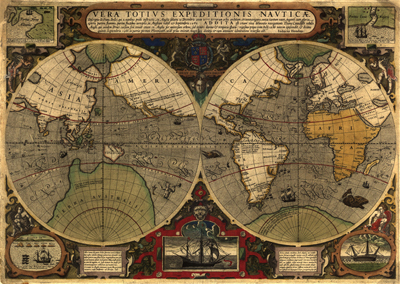 Antique World Projection Map, 1595, Clip Art, Royalty Free